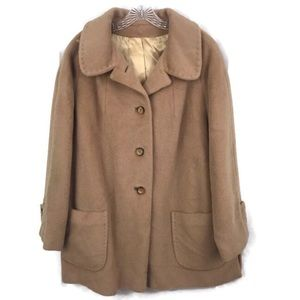 VINTAGE WOOL MOHAIR PREPPY FALL PEACOAT CAMEL TAN
